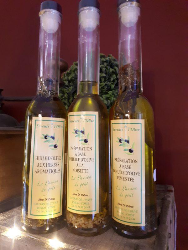 huiles d'olives aromatisées